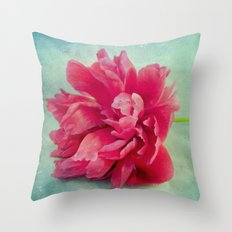 Peony on Blue Throw Pillow