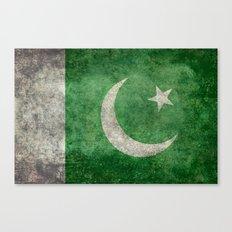 Pakistani flag, vintage retro style Canvas Print