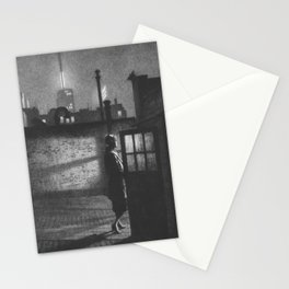 Little Penthouse, Intimate Cityscape black and white painting by Martin Lewis Stationery Cards
