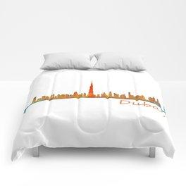 Dubai, emirates, City Cityscape Skyline watercolor art v1 Comforters