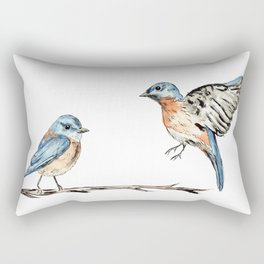Bluebirds watercolour and ink Rectangular Pillow