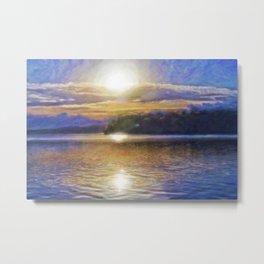 Sun Rising Over Lake - Art Edit Metal Print