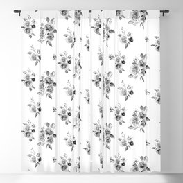 Black and White Floral Blackout Curtain