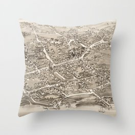 Vintage Pictorial Map of Stratford CT (1882) Throw Pillow