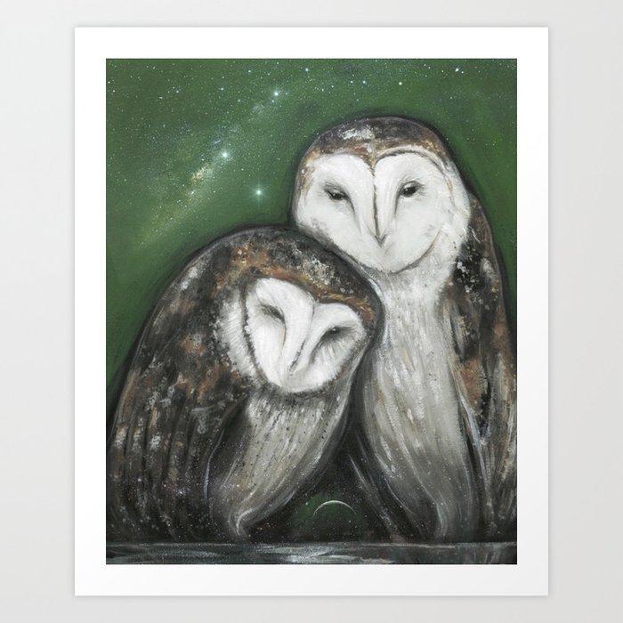 Soul Mates (Barn Owls) Art Print
