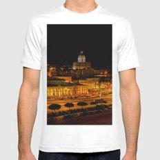 Lisbon by night White MEDIUM Mens Fitted Tee