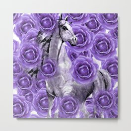HORSES AND PURPLE ROSES AND HORSES Metal Print