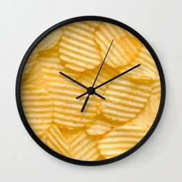Rippled Potato Chips Snack Food Photograph  Wall Clock