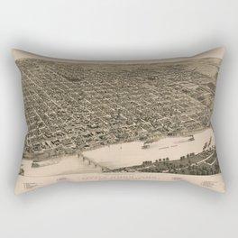 Perspective Map of Little Rock, Arkansas (1887) Rectangular Pillow