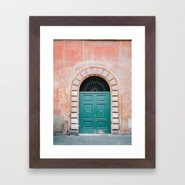 Turquoise Green door in Trastevere, Rome. Travel print Italy - film photography wall art colourful. Framed Art Print