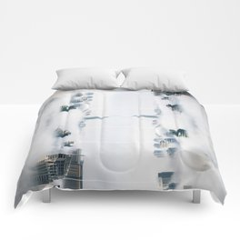City surreal reflection Comforters