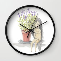 listening to the lavender's breath Wall Clock