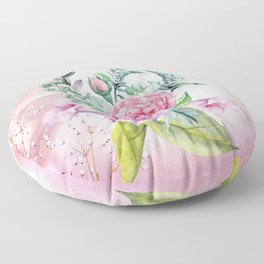 Flowers and leaves in soft purple colors Floor Pillow