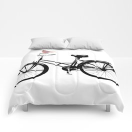 Baker's bicycle with bird Comforters