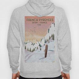 French Pyrénées Ski poster Hoody