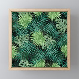 Large Green Fern Palm and Monstera Tropical Plants Framed Mini Art Print