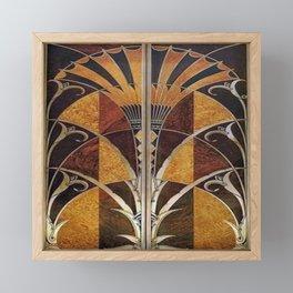 Art nouveau,Original wood work, elevator door, NYC Building Framed Mini Art Print