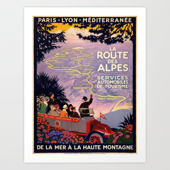 Vintage poster - Route des Alpes, France by mosfunky