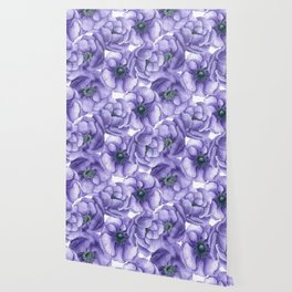 Violet anemone flowers watercolor pattern Wallpaper