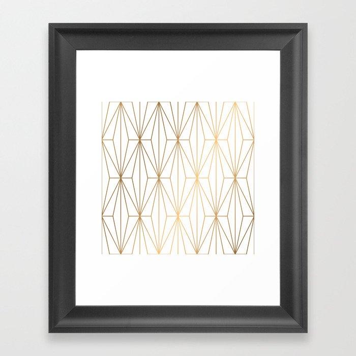 Gold Geometric Pattern Illustration Gerahmter Kunstdruck