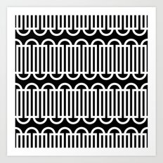 Black & white lines & curves pattern Art Print
