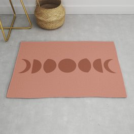 Minimal Moon Phases - Terracotta Red Rug