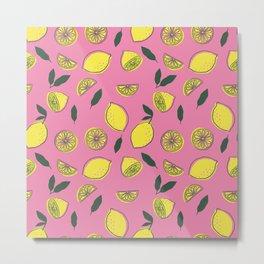 Pink Lemonade Pattern Metal Print