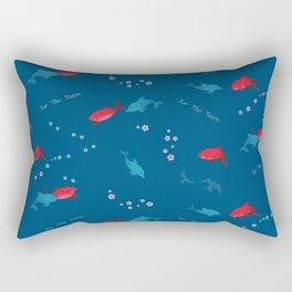 Blue Dolphin and Red Shark Rectangular Pillow