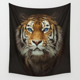 Wild Tiger with Blue eyes Wall Tapestry