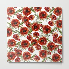 Poppy Pattern On White Background Metal Print