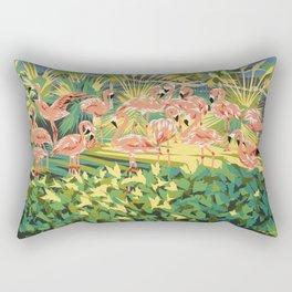 "Pink Flamingos Garden Birds - Limited Edition Lithograph Print - Impressionism 30"" x 26"" Rectangular Pillow"