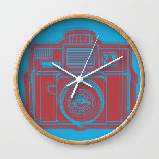 I Still Shoot Film Holga Logo - Blue & Red Wall Clock