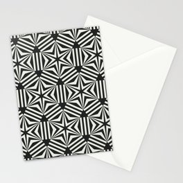 Black & white geometric stars op art Stationery Cards