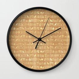 Golden Ancient Egyptian Hieroglyphs Wall Clock