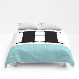 Monogram Letter H-Pantone-Limpet Shell Comforters