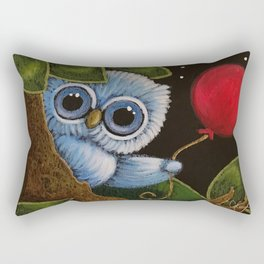 TINY BLUE OWL with RED BALLOON - LEARNING RED COLOR Rectangular Pillow