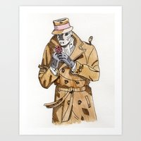 rorschach Art Prints featuring Rorschach by Of Newts and Nerds