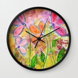 Flowers for My Daughters Wall Clock