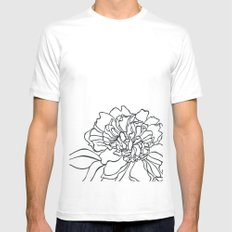 Paper-cut Peony White Mens Fitted Tee MEDIUM