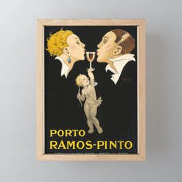 Vintage Wine Poster - Porto Ramos Pinto by Rene Vincent - Vintage French Wine Poster Framed Mini Art Print