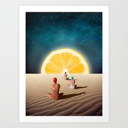 Desert Moonlight Meditation Art Print