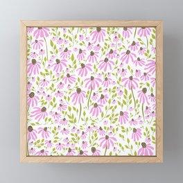 Echinacea and Greenery Framed Mini Art Print