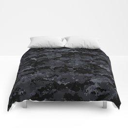 Pixelated Dark Grey Camouflage Comforters
