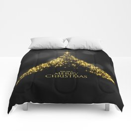 Gold Sparkle Wish You A Merry Christmas Tree Comforters
