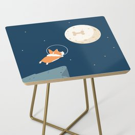 Fly to the moon _ navy blue version Side Table