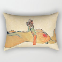 Egon Schiele - Orange knuckles and nipples (new color edit) Rectangular Pillow