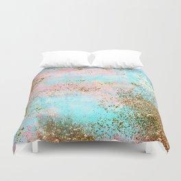 Pink and Gold Mermaid Sea Foam Glitter Duvet Cover