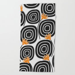 Abstract circles and cute little flowers Beach Towel