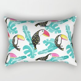 Watercolor toucan and leaves Rectangular Pillow