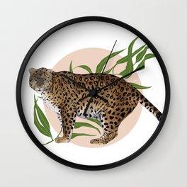 AMUR LEOPARD & FLOWER Wall Clock